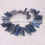 Titanium Blue Quartz Crystal Point Pendant Beads,Top Drilled Raw Quartz Tusk shape rock crystal pendant beads