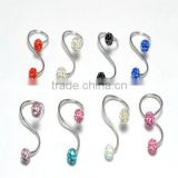 Gem crystal jeweled body piercing jewelry free belly button rings twister belly button ring navel belly ring