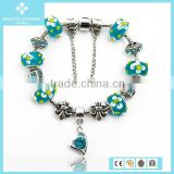 Fashion 925 Silver Green Heart Shape Rhinestone Crystal Beads Bracelet