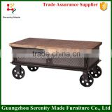wholesale furniture industrial coffee table with wheels