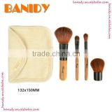 4 pcs Premiun Synthetic Bamboo Kabuki Makeup Brush Set/Wholesale Toiletry Kit Make Up Brush Set With Case