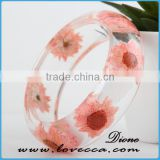 Fashion New European Style Real Dried Flower Colorful Women's Resin Bangle, OEM is Welcomed