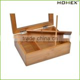 Bamboo Snack Tea Basket Tray Organizer with Clear Lid Window/Homex_Factory