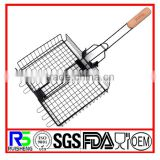 Non-stick Vegetable Folding Grilling Basket With Wooden Handle,Demountable Meat Grill Basket