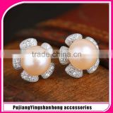 925 Silver Black Real Natural Pearl Earrings Luxury Stud Jewelry Graceful Jewellery