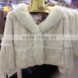 New factory direct import rabbit fur whole skin short section long sleeve hair collar papered women fur coat