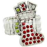 "1.25"" Crystal And Red Chirstmas Stocking Stretch 5"" Band Ring"