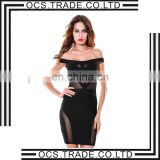 Shiny Diamond Neckline sexy Sleeveless Charming Black Party Dress Evening Dresses