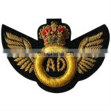 Gold Bullion Wire Embroidered Wing badge, crest, patch | Embroidered Wing Badges | Embroidered Uniform Wings