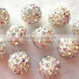 Fancy pretty and colorful cheap loose shamballa beads 10mm micro pave diamond 2 big holes for shamballa bracelets