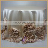 TC107H wedding wholesale round satin rosette table cloth                                                                         Quality Choice