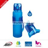 650ml/22oz BPA Free Bottle, Collapsible, Foldable,High Quality Travel Silicone Water Bottle                                                                         Quality Choice                                                     Most Popular