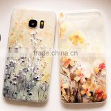 3D flower relief sculpture transparent soft TPU shockproof case cover for SAMSUNG S7 edge