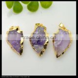 LFD-0068P ~ Wholesale Druzy Amethyst Pendants , Arrow head Gold Plated Fashion Charm Gem Stone Pendant Necklace