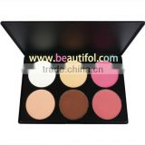 Natural blush! 6 color blusher palette, Cosmetics for cheek, long lasting , Face shimmer blushes