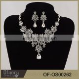 Chinese Custom Heavy Bridal Silver Necklace jewelry Sets Fancy Long Chain White Crystal Necklace Set
