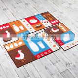 Polyester Cartoon Cute Cooking Pattern Kitchen Carpet Durable Eco-Friendly cDoor Floor Bath Mat Customize Size and Pattern