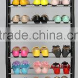 Practical 10 Tiers Shoe Display Rack Anti-slip Moveable Shoes Shelf