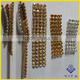 2mm 3mm 4mm 6mm crystal silver and gold metal base hot fix rhinestone aluminum mesh sheet
