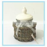 Fulaishan Hot sale small Willow stand with glass round storage jar and ceramic lid and ribbons