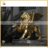Metal Animal Sculpture Bronze Brass Winged Lion Statue For Gate Decor