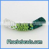 Tube Curved Beads Trendy Shamballa Bracelets Findings Spacer Connector Charms Pave Crystal Many Designs/Colors CTB-015
