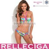 RELLECIGA Fashionable Doodle Print 1/2 Cup Halter Top Bikini Set with Neon Pink Ties at Neck and Pearl Decos inside Them
