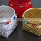 High quality best selling eco-friendly bamboo basket with beads from viet nam