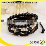 wood bead custom leather braided bracelet, leather beaded wrap bracelets                                                                         Quality Choice