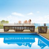 Outdoor rattan furniture set sand beach lounge bed beach chair with end table