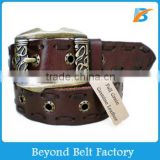 Beyond 38mm Unisex Casual Burgundy Top Layer Genuine Leather Jeans Belt with Leather Thread Stitching