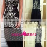 Elegant Real 2014 A-line Halter Beaded Crystal Sequins Black Long Prom Evening Dress Vestido Longo ZY141
