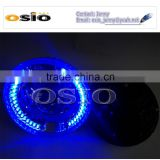 7'R BMC CRYSTAL GLASS with Blue LED HALO RING &LENS 12V/24V Auto Halogen Semi Sealed Beam Auto Halogen Lamp Install H4 or HID