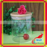 glass jar wooden bamboo cap with wood cap for food tea, glass storage jar fo rfood Stock with cork lid