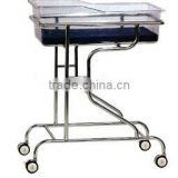XHB-35 Stainless steel hospital baby crib with 4 wheels