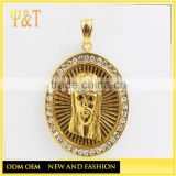 Fashion crystal hip hop jewelry stainless steel gold plated jesus head pendant religious jewelry