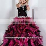 New arrival beaded tiered ball gown ruffled black purple custom-made pageant flower girl dress CWFaf4587