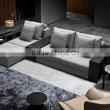 Foshan factory new design classical style L shape living room sofa set with wood armchair