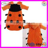 E055 Orange Newborn Baby Ladybird Blanket Long Sleeves Bag Sleep Sack Wear Sleeved Blanket