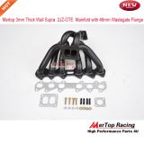 Mertop 3mm Thick Black Coated T4 Divide Toyot* Supra 93-98 2JZ-GTE 2JZ Twin Turbo Manifold with 46mm Wastegate Flange