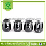 Set 4 Hallowmas Dancing Skull black stemlesss wine glass