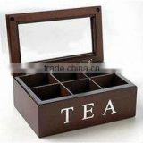 6 compartment customized wooden tea box