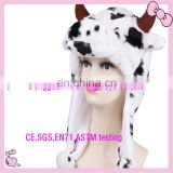Custom top quality soft plush animal cow head hats