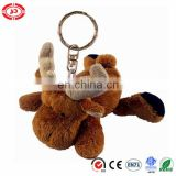 Lying moose brown super soft velboa soft keychain toy