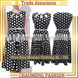1567# Guangzhou Sleeveless Fancy Lady Fashion Wholesale Polka Dot Short Rockabilly Dress 50s Vintage Plus Size Women Clothing