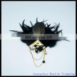 all black feather hair fascinator/hairband/head wear/with chains decoration