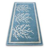Cute fluffy blue and white porch synthetic fibers entryway runner rug