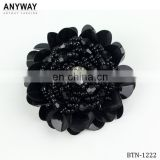 Manufacture fashion rose flower design shiny black buttons