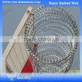 Hot Sale!! Cross Type Razor Barbed Wire For Security Fence, Plane Hot Dip Galvanized Razor Barb Wire