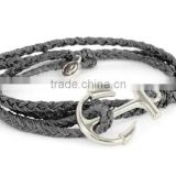 alloy metal anchor rope bracelet black multilayer wrap wax cord bracelet for men